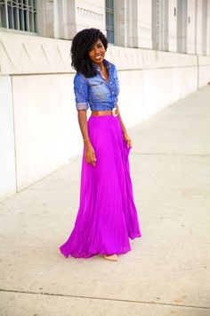 Fitted Denim Shirt + Pleated Maxi Skirt from Style Pantry