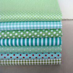 40 cm * 50 cm 7 unids serie verde punto de polca / raya / tela de algodón Check la costura, tela del remiendo, acolchar costura textil, paño bricolaje