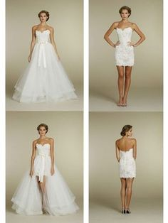 Sexy Detachable Skirt Wedding Dress Two Piece Backless