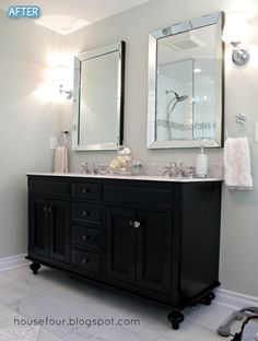 Repurpose a dresser/buffet into a vanity.  So much personality!