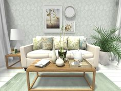 Spring Decorating Ideas: Living room design with leaf print wallpaper and home decor