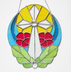 Stained Glass Window, Stained Glass Sun Catcher, Tropical Flower, Easter, Cross…