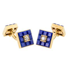 VAN CLEEF & ARPEELS Diamond Lapis Gold Cufflinks | From a unique collection of vintage cufflinks at http://www.1stdibs.com/jewelry/cufflinks/cufflinks/