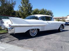 1958 Cadillac Coupe DeVille - the days of luxury large cars with chrome bumpers, no fiberglass like today's cars