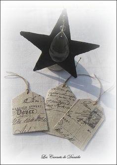 étiquettes lin écriture Vintage script tags