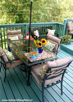 A Deck Makeover. LOVE the aqua painted deck! Could be Benjamin Moore Drag… A Deck Makeover. LOVE the aqua painted deck! Could be Benjamin. Deck Colors, Decking Colours Ideas, Deck Makeover, Aqua Paint, Outdoor Furniture Sets, Outdoor Decor, Outdoor Spaces, Outdoor Patios, Outdoor Kitchens