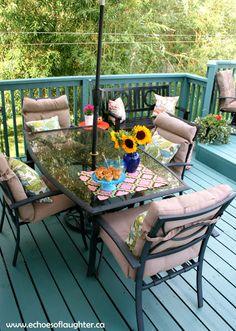 A Deck Makeover. LOVE the aqua painted deck!
