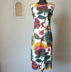 Vintage 60's Shift Dress, Sleeveless,  Bright and Bold Multicolor Floral,  Pink, Green and Yellow, Size Medium. $75.00, via Etsy.