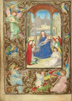 The Virgin and Child with Angels; Lieven van Lathem (Flemish, about 1430 - 1493); Ghent (written), Belgium; about 1471; Tempera colors, gold leaf, gold paint, silver paint, and ink on parchment; Leaf: 12.4 x 9.2 cm (4 7/8 x 3 5/8 in.); Ms. 37, fol. 5v; J. Paul Getty Museum, Los Angeles, California