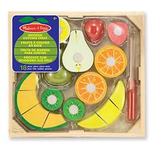 Melissa & Doug Cutting Food - Play Food Set With Hand-Painted Wooden Pieces, Knife, and Cutting Board With Cutting Fruit Set - Wooden Play Food Kitchen Accessory Wooden Play Food, Wooden Playset, Play Food Set, Melissa & Doug, Learning Toys, Learning Resources, Toy Store, Crates, Kids Toys