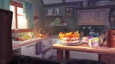 Kitchen Interior by Milena Vasyukova Kitchen Games, Kitchen Art, Kitchen Interior, Background Drawing, Animation Background, Environment Concept, Environment Design, Kitchen Background, Color Script