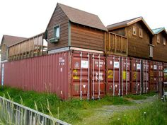 Container House - Container village: what a great idea! Build a small home ON TOP of your container! - Who Else Wants Simple Step-By-Step Plans To Design And Build A Container Home From Scratch? Container Architecture, Container Buildings, Container Home Designs, Building A Container Home, Container House Plans, Casas Containers, Shipping Container Homes, Shipping Containers, Cargo Container
