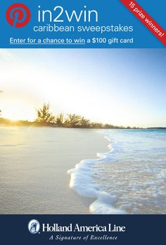 If soft, white sandy beaches say Caribbean Vacation to you, enter the @HALcruises #Pin2Win Caribbean Sweepstakes for your chance to #win American Express gift card.