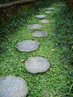 Photographic Print: Stone Path Leading Through a Garden Poster by xPacifica : Landscaping With Rocks, Front Yard Landscaping, Backyard Landscaping, Landscaping Ideas, Backyard Ideas, Backyard Patio, Garden Steps, Easy Garden, Garden Bed