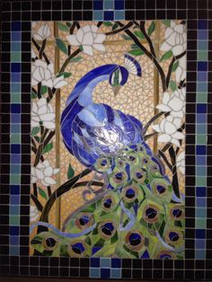 Peacock Stained Glass Mosaic Table by Melissa Czekaj