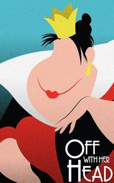 Queen of Hearts - Alice in Wonderland / Disney Villains Inspired - Movie Art Poster Evil Disney, Dark Disney, Disney Love, Disney Pixar, Disney Villains Art, Queen Of Hearts Disney, Villains Party, Disneyland, Disney Queens