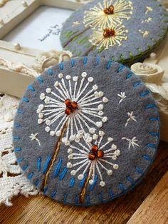 ✄ A Fondness for Felt ✄  DIY craft inspiration:  Dandelion brooch - Grey felt