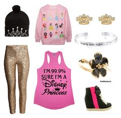 """""""I'm a Princess 💎💎"""" by tickledpink1113 ❤ liked on Polyvore featuring H&M, Markus Lupfer, Juicy Couture, Disney and ZiGiny"""