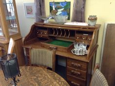 Roll Top Desk - oak roll top. Comes apart for easy move and transport. Item 1052-2. Price $305.00   - http://takeitorleaveit.co/2016/04/30/roll-top-desk/