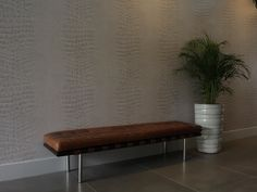 croco Brave Wallpaper, Entryway Bench, House, Furniture, Ideas, Home Decor, Entry Bench, Hall Bench, Decoration Home