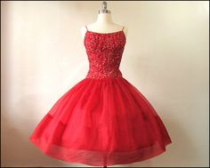 Stunning Red Organza Vintage 1950's Party/Prom Dress