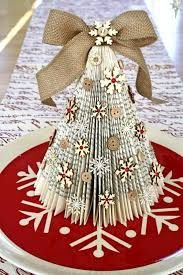 21 DIY Christmas Paper Decorations Old Book Christmas Trees from Cocoa Daisy Diy Christmas Paper Decorations, Book Crafts, Christmas Projects, Decor Crafts, Holiday Crafts, Tree Decorations, Tree Crafts, Christmas Ideas, Diy Crafts