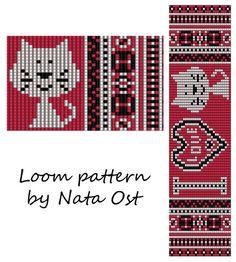 Beading Loom Pattern Bracelet I Love Cat Seed Bead Cuff by NataOst