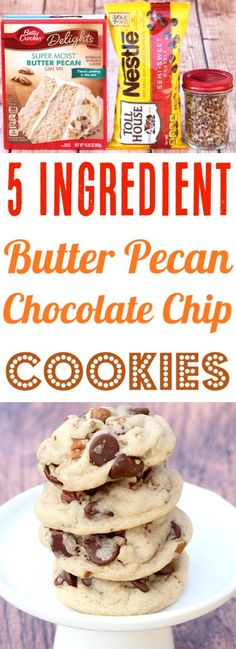This simple chewy Butter Pecan Chocolate Chip Cookie is … Pecan Cookies Recipes! This simple chewy Butter Pecan Chocolate Chip Cookie is … – Frugal Girls Recipes – Chocolate Chip Pecan Cookie Recipe, Butter Pecan Cookies, Cake Mix Cookie Recipes, Cake Mix Cookies, Cookies Et Biscuits, Chocolate Cookies, Cake Recipes, Cookie Butter, Cupcakes