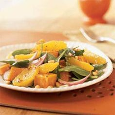 Roasted Sweet Potato and Orange Salad http://www.myrecipes.com/recipe/roasted-sweet-potato-orange-salad-10000001134106/