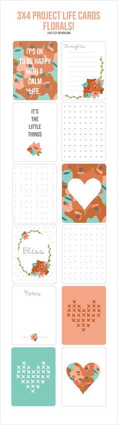 3x4 Project Life Cards #freeprintables #freeprintable #projectlife Get tons more freebies here: http://www.pinterest.com/hre/project-life-free-downloads-and-printables/