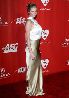 Kate Upton at MusiCares Person of the Year Honoring Tom Petty Event in Los Angeles - Fashnberry - Satin Gown, Satin Skirt, Satin Dresses, Silk Satin, Sexy Dresses, Sexy Blouse, Blouse And Skirt, Girl Celebrities, Celebs