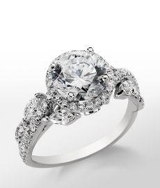 Monique Lhuillier Floral Halo Engagement Ring in Platinum