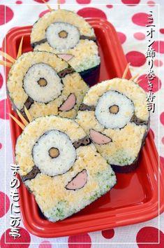 「どこから切ってもミニオン♪飾り巻き寿司」金太郎飴のように、どこを切ってもミニオンが可愛い♪身体を卵、オーバーオールを青海苔のすし飯で作りました。飾り巻き寿司1級取得者の、オリジナルの飾り巻き寿司です。【楽天レシピ】