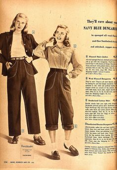 How to wear jeans, 1947-style casual jeans day wear sports wear pants loafers blouse jacket 40s 50s