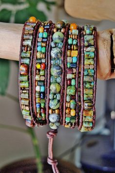AFRICAN TURQUOISE 5 Wrap Antique Brown Leather Bracelet w/Colorful Czech 3-Cut ,Tube,striped Picasso Beads,