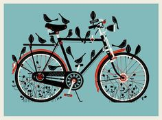 Our most popular print to date. The Bird Bike is a 18x24, 3 color silkscreen print on 100lb. French cement green cover paper.    Ships rolled in a