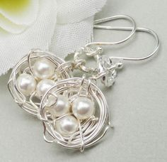 Sterling Silver Birds Nest earrings Rustic Nest by JewelryJust4You, $22.50