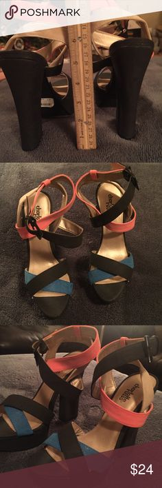 NWT Colorblock Heels Beautiful combination of navy, Coral, blue, and gold. Never been worn, valued at $38.50 and gorgeous! Women's 7. Charlotte Russe Shoes Heels