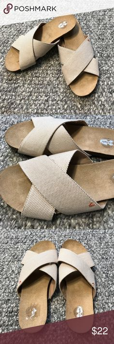 Dr. Scholls Slide Sandals Never worn slip on sandals are perfect for around the house! Tan and cream strap, Woman's 8 1/2. Dr. Scholl's Shoes Sandals