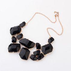 $4.65 - Geometric Gems Design Choker Necklace  -  BLACK - WHOLESALE JEWELRY - Wholesalerz.com