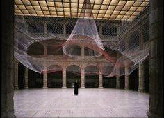 Janet Echelman.  Moves with the wind.  Light, ephemeral, and beautiful work.