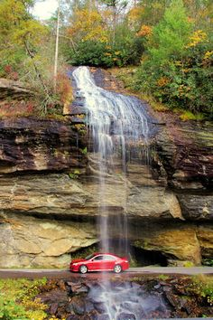 Our kind of drive-thru! Bridal Veil Falls near Highlands, NC, in Nantahala National Forest.