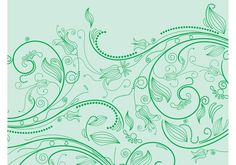 Green Flowers -  Decorative vector layout with swirling vector flowers. Bright colored outlines of flower blossoms, petals, leaves, stems, dots, swirling lines and spirals. Free vector footage to decorate wallpapers, backgrounds, backdrop images, posters, flyers, greeting cards and adverts visuals.  - http://dawnanime.com/green-flowers-4/?utm_source=PN&utm_medium=welovesolo%40gmail.com&utm_campaign=SNAP%2Bfrom%2BWeLoveSoLo