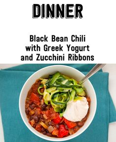 Day 6 Of The Clean Eating Challenge: Dinner Black Bean Chili with Greek Yogurt and Zucchini Ribbons