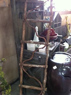 Great decorative project - twig ladder.