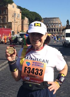Deanna Beyer, '82, MS'90, added the 22nd Maratona di Roma to her international race accomplishments on April 10. Deanna began and ended the event outside the Colosseum, following a 26.2 mile course through downtown Rome's landmarks, cobblestones, and cheering pedestrians—including a few who thought it appropriate to walk their dogs through the roped-off marathon route! Deanna took the interruptions in stride.
