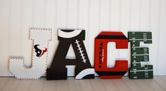 NFL themed wall letters by LovelyLetterBoutique on Etsy Football Nursery, Football Baby Shower, Baby Boy Shower, Wooden Wall Letters, Diy Letters, Letter Wall, Baby Boy Rooms, Baby Boy Nurseries, Baby Room Paintings