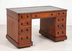 Victorian Partners Desk Mahogany - Antique Office 1860 Partners Desk, Antique Desk, Writing Table, Green Leather, Office Desk, Blinds, Victorian, Antiques, Furniture