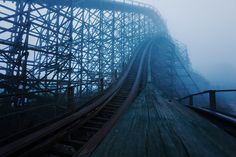 destroyed-and-abandoned:Climbing an abandoned roller coaster before sunrise in Nara, Japan by Chris Luckhardt