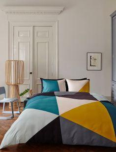 #Bedrooms & Bed Linen Trends: #Auping Duvet Cover Diagonal Aqua